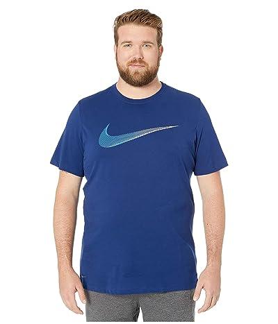 Nike Big Tall Dry Tee Dri-FITtm Cotton 2 Year Swoosh (Blue Void/Battle Blue) Men