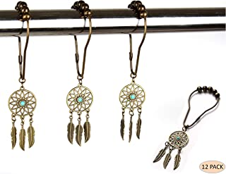 Rust Proof Shower Curtain Hooks - Bronze dream catcher decorative accessories set for bathroom curtain, bedroom design, kids, baby room, home decor design ( Bronze, stainless steel, set of 12 rings)
