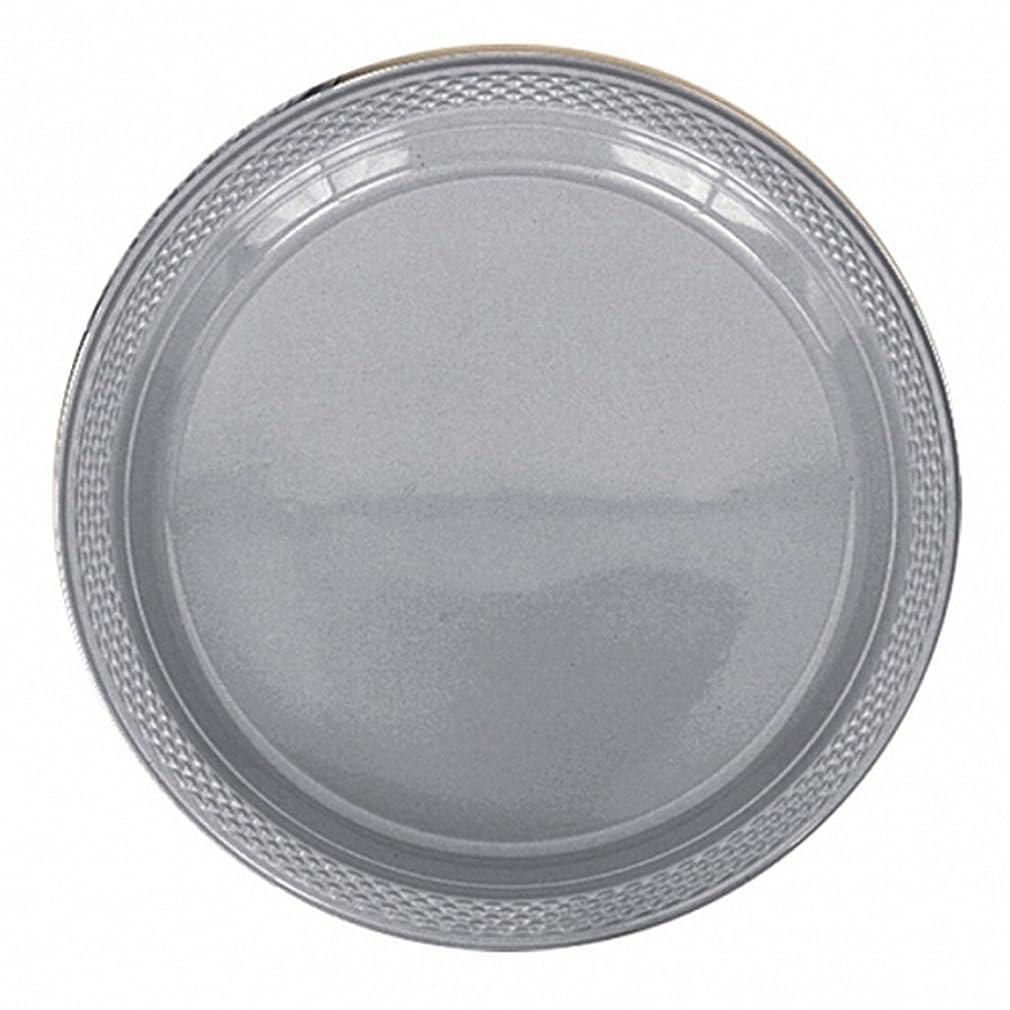 不名誉アピールビリー(アムスキャン) Amscan プラスチックプレート 紙皿 パーティー バーベキュー (20枚組) (ワンサイズ) (シルバー)
