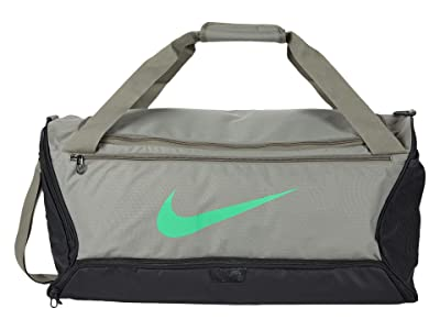 Nike Brasilia Medium Duffel 9.0 (Dark Stucco/Dark Stucco/Green Spark) Bags