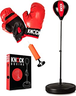 Knock Boxing - Punching Bag for Kids - Boxing Set Includes Gloves & Pump - Adjustable Height with Stand - Great Gift Idea ...