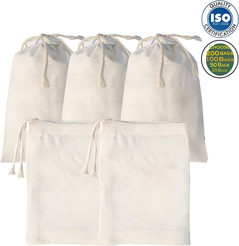 6x10 Inch Muslin Cotton Premium Quality Bags Art And Craft Bags Pouch Thicker Fabric And Drawstring Durable Pack Of 25