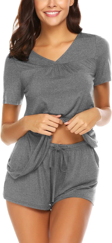OD'Lover Women's A surprise price Jacksonville Mall is realized Short Pajama Set Neck wit V Sleepwear Nightwear
