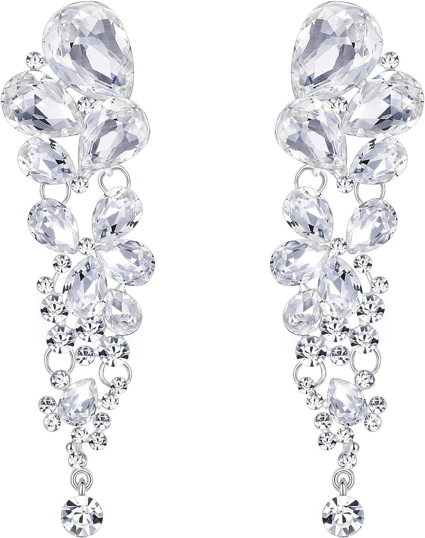 EVER FAITH Women's Austrian Crystal Gorgeous Tear Drops Wedding Dangle Pierced Earrings