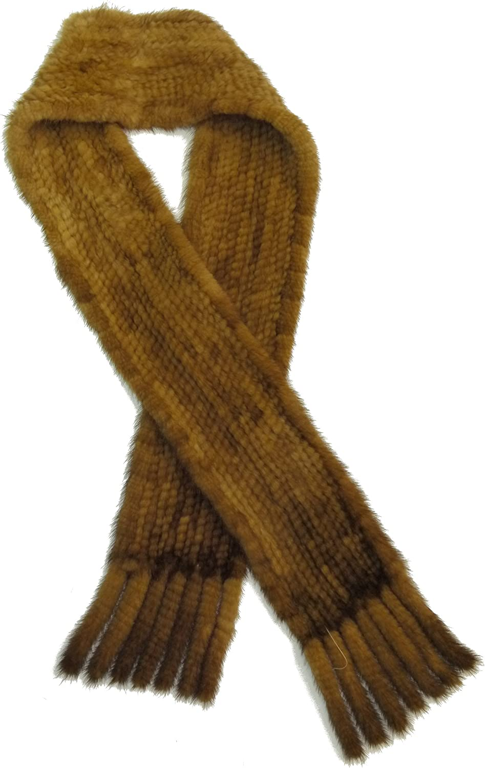 Mink Knitted Scarf With Tails  Whiskey