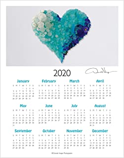 2020 Aqua Sea Glass Heart, Elegant One Page, Fine Art Wall or Desk Calendar. 11x14 Poster Print. Best Quality Birthday, Christmas, Mothers Day & Valentines Gifts for Women, Men & Kids. Unique Idea f
