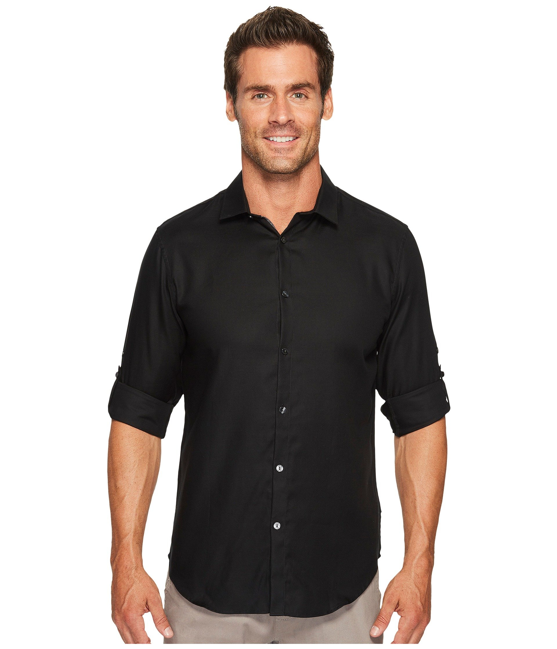 Calvin klein twill roll up button down shirt at 6pm for Men s roll tab sleeve shirts