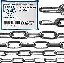 3 stuks 50-cm = 0,5-meter 3-mm dikke roestvrijstalen ketting V4A met lange kettingschakels van NietFullThings in z'n gehee...