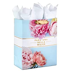 "Hallmark VIDA 13"" Large Spanish Gift Bag with Tissue Paper for Birthdays, Mother's Day, Bridal Showe"