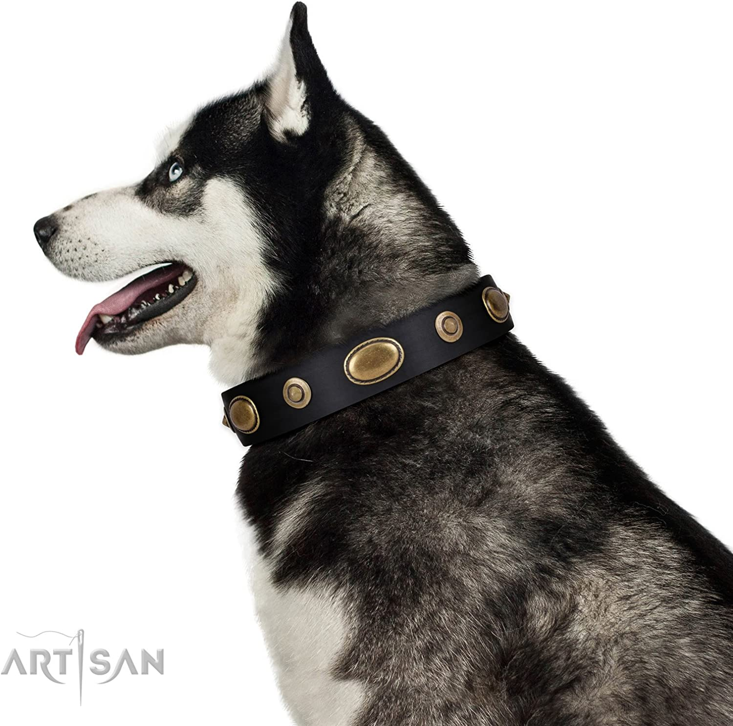 FDT Artisan 20 inch Black Leather Dog Collar  Retro Temptation  Exclusive Handcrafted Item  1 1 2 inch (40 mm) Wide  Gift Box Included