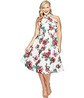 Unique Vintage - Plus Size Halter Flora Swing Dress