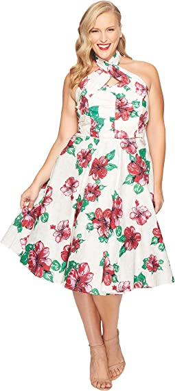 Plus Size Halter Flora Swing Dress