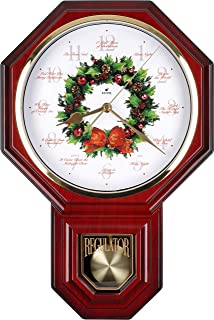Justime Special Edition Schoolhouse 12 Song of Carols of Christmas Wreath Melody Plastic Wall Clock, Made in Taiwan (TCXM0258-R Red Mahogany)