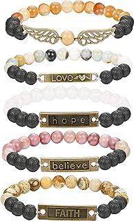 Finrezio 5 PCS Bead Bracelets for Women Aromatherapy Essential Oil Diffuser Natural Lave Rock Stone Bracelet Set 8MM