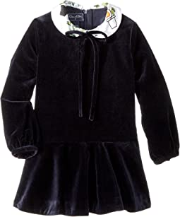 Long Sleeve Velvet Flare Dress (Little Kids/Big Kids)