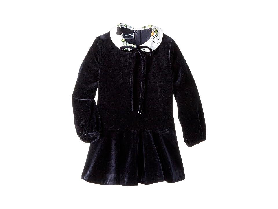 Oscar de la Renta Childrenswear Long Sleeve Velvet Flare Dress (Little Kids/Big Kids) (Navy) Girl
