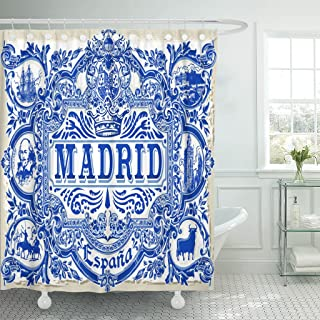 TOMPOP Shower Curtain Spanish Ornate Work Madrid Symbol Ceramic Tilework Azulejos Spain Waterproof Polyester Fabric 78 x 72 Inches Set with Hooks