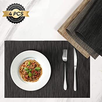 HOKEKI Placemats,Washable Vinyl Heat Resistant Table Mats,Non-Slip Wipe Clean PVC Placemats for Dining Table Sets of 4 (Black)