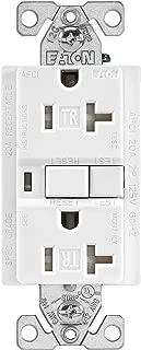 EATON TRAFCI20W Tamper Resistant Arci Duplex Receptacle, 125 Vac, 20 A, 2 Pole, 3 Wire, White
