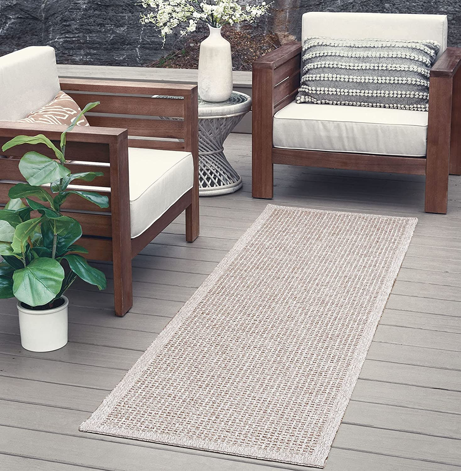 Taupe Jute Water Oakland Mall Resistant San Diego Mall 2x8 Runner Outdoor Pat Hallway Indoor