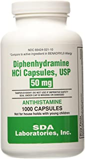 Diphenhydramine HCI 50 Mg Allergy Medicine and Antihistamine 1000 caps