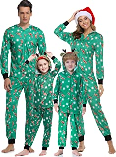 Aibrou Pijamas de Navidad Familia Conjunto Pantalon y Top Pijamas Mujer Hombre Invierno Manga Larga Pijama de Dormir 2 Pie...