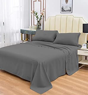 Cool Products Luxury 1800 Series Bamboo Sheets Set - Hypoallergenic Bamboo Fiber - Resists Wrinkles - 4 Pieces, Gray, Queen