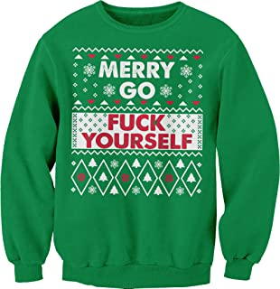 ShirtInvaders Merry Go Fuck Yourself - Ugly Christmas Sweater Sweatshirt