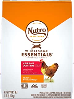 NUTRO WHOLESOME ESSENTIALS Adult Hairball Control Natural Dry Cat Food Farm-Raised Chicken & Brown Rice Recipe, 14 lb. Bag