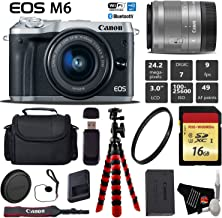 Canon EOS M6 Mirrorless Digital Camera (Silver) with EF-M 15-45mm is STM Lens + Flexible Tripod + UV Protection Filter + Professional Case + Card Reader - International Version Kit