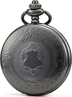 SEWOR Vintage Elegant Carving Pocket Watch with Chain, Mechanical Hand Wind