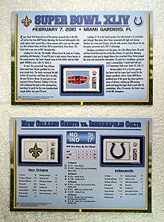 Super Bowl XLIV (2010) - Official NFL Super Bowl Stamp Collection - 2 Pieces / 3 Stamps - New Orleans Saints vs Indianapolis Colts - Drew Brees MVP