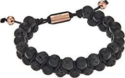 Steve Madden Stainless Steel Lava Stone Bead Bracelet
