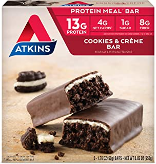 Atkins Protein Meal Bar, Cookies & Crème, Keto Friendly, 5 Count