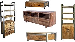 Muebles de madera de teca maciza de Opium Outlet 11 piezas paquete con cómodas aparadores estanterías con marco de me...