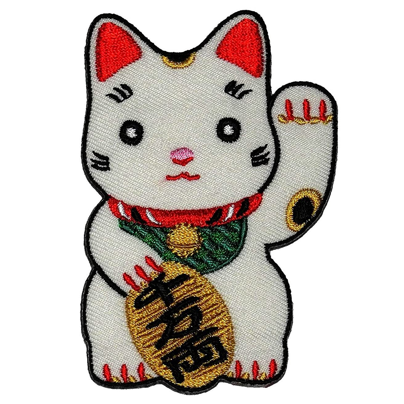 Cute Maneki-neko Japan Japanese Lucky Cat DIY Embroidered Sew Iron on Patch By Art vs Racing