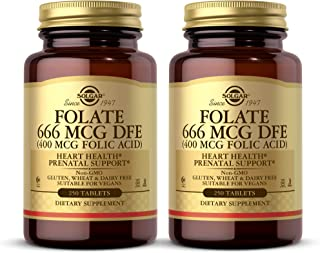 Solgar Folate 666 mcg DFE (400 mcg Folic Acid), 250 Tablets - Pack of 2 - Heart Health - Prenatal Support - Non-GMO, Vegan...