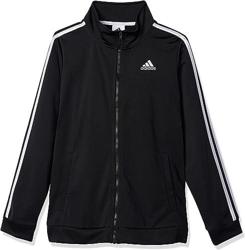 adidas Boys' Plus Size Zip Front Iconic Tricot Jacket