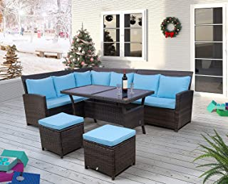 Merax 6-Piece Patio Dining Sets, PE Rattan Sectional Outdoor Patio Furniture Wicker Sofa with 2 Stools, Tempered Glass Table, Blue Cushions and Pillows