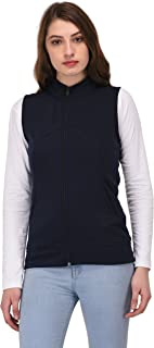 DARZI Women's Sleeveless Solid Casual Navy Blue Jacket(Darzi-188)