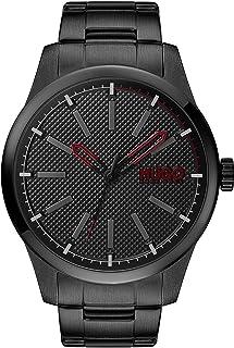 ساعة هيوغو بوس للرجال بمينا سوداء وسوار من الستانلس ستيل بطلاء اسود ايوني - 1530148