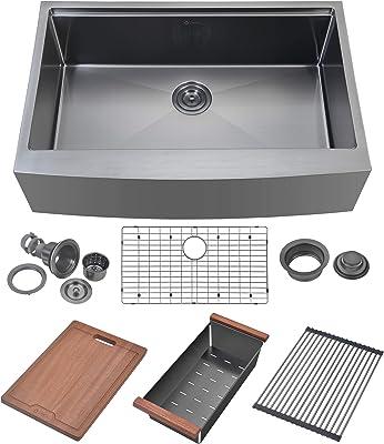 "Zeek 33 Inch Gunmetal Black Stainless Steel Apron Front Farmhouse Kitchen Sink Workstation With Accessories 33"" Single Bowl 16 Gauge"
