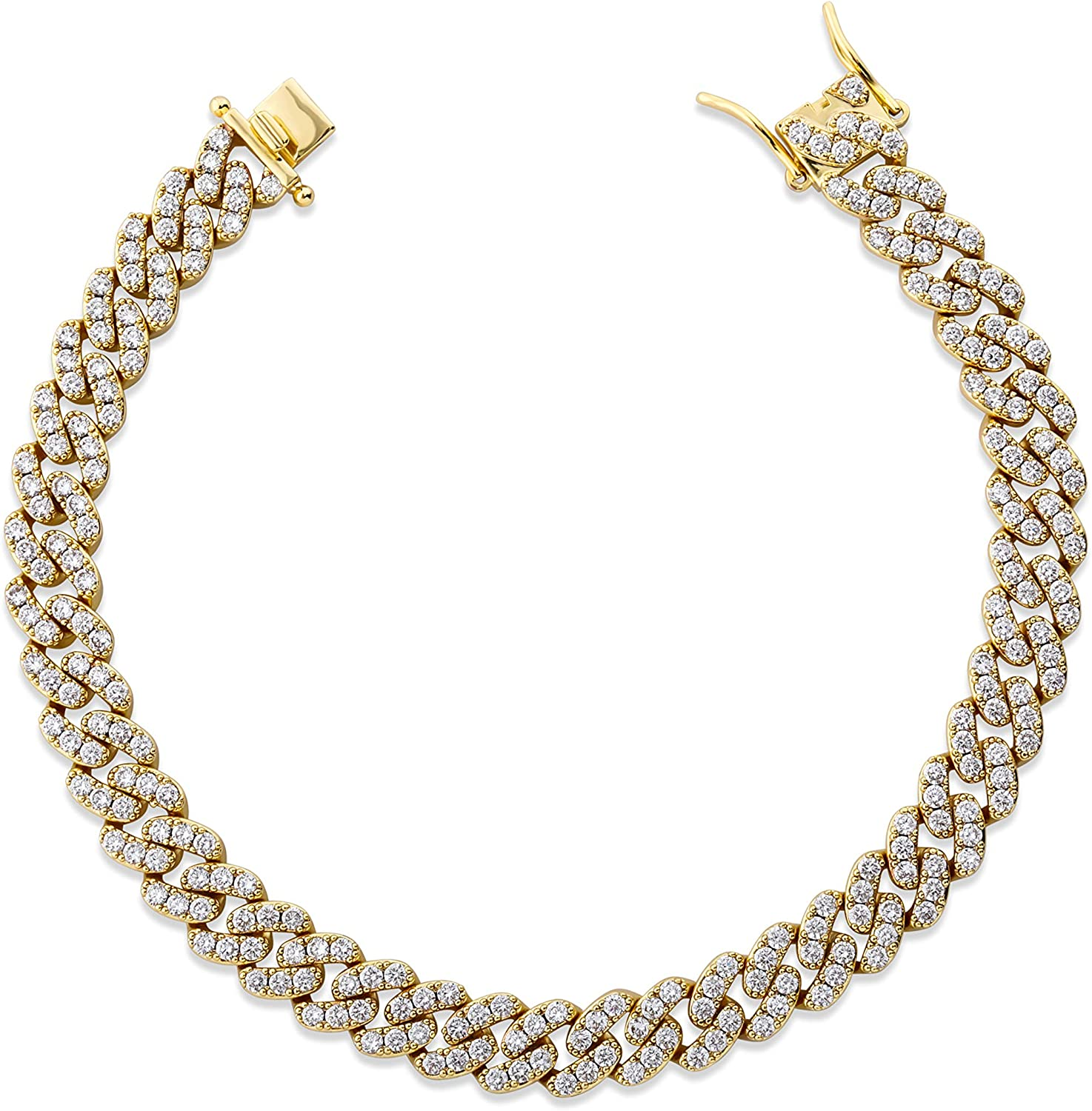 TOPGRILLZ 8mm Gold Cuban Link Anklets Times for Free shipping anywhere in the nation Women 6 Ranking TOP8 14K