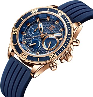 Watch, Mens Watch Sport Waterproof Analog Chronograph Fashion Casual Silicone Wristwatch for Men