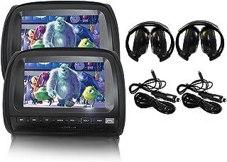 "Elinz 2x 9"" Black Touch Screen Car Headrest DVD Player Monitor Pillow 1080P 8 Bits Games USB SD MMC Card Slot Sony Lens He..."