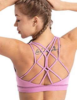 coastal rose Women's Yoga Bra Top Strappy Back Push Up Crop Sports Bra Activewear