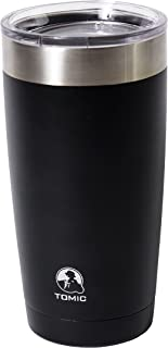 TOMIC 20 oz Double Wall Vacuum Insulated Stainless Steel Tumbler with Clear Lid. Keep Drinks Hot and Cold. Resistant to stains and odors, Sweat & BPA Free, Best for Travel, Office and Home