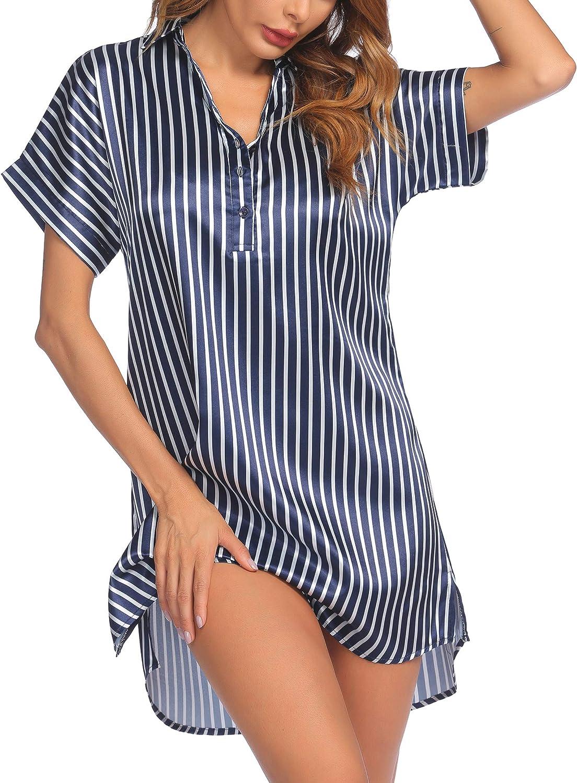 Ekouaer NightgownsforWomenSexySatin Nightshirt Short Sleeves Sleepshirt V-Neck Sleepwear Dress with Button S-XXL