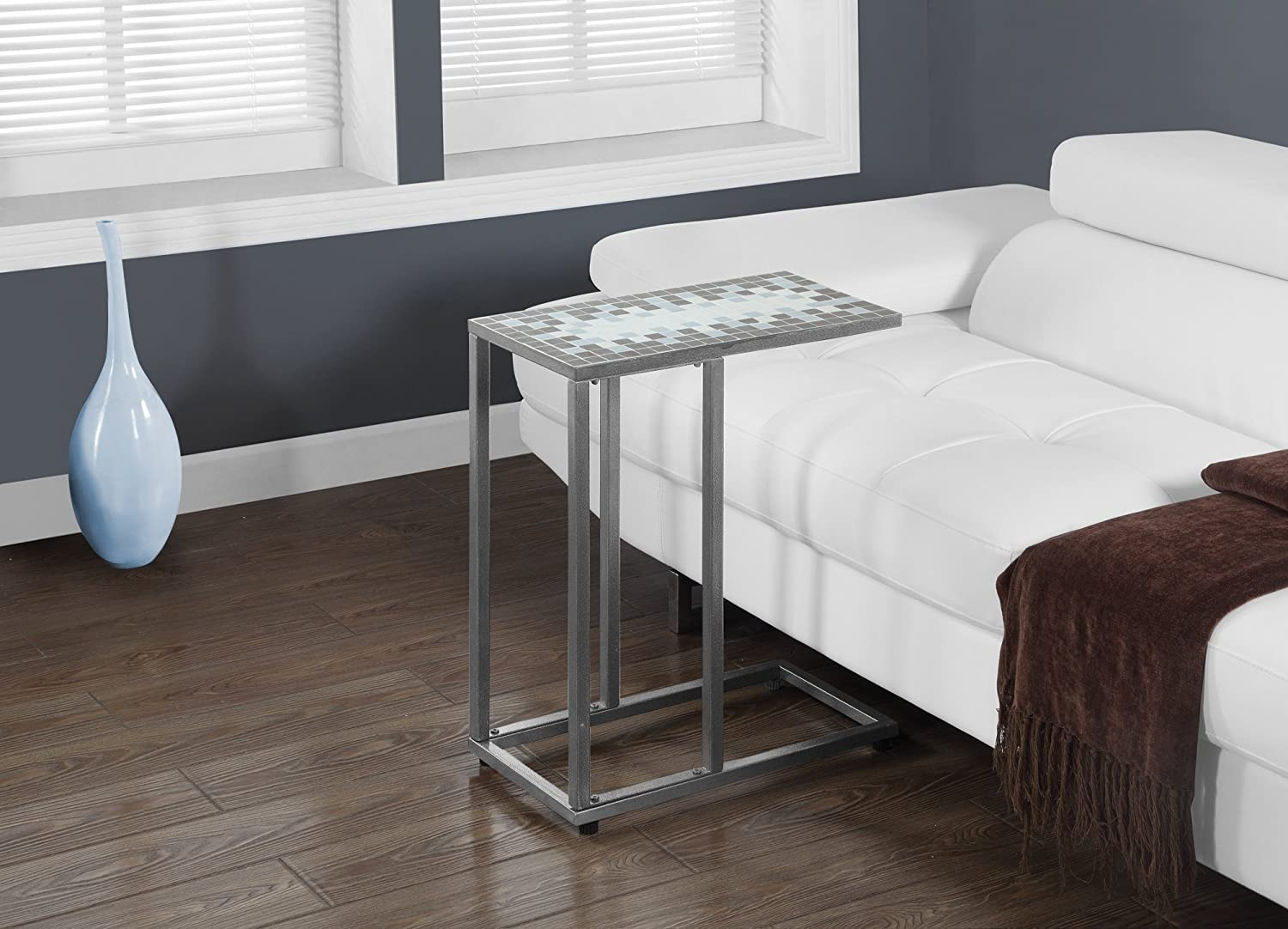 Monarch Specialties I 3144 Grey bluee Tile Top Hammered Silver Metal Accent Table