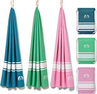 """Eden Cove Microfiber Beach Towel, Quick Dry Travel Towel & Canvas Bag - Large 55x28"""" & Extra Large 71x39"""" - Fast Drying, Compact, Lightweight, Absorbent - for Beach, Travel, Swimming, Gym, Sports."""
